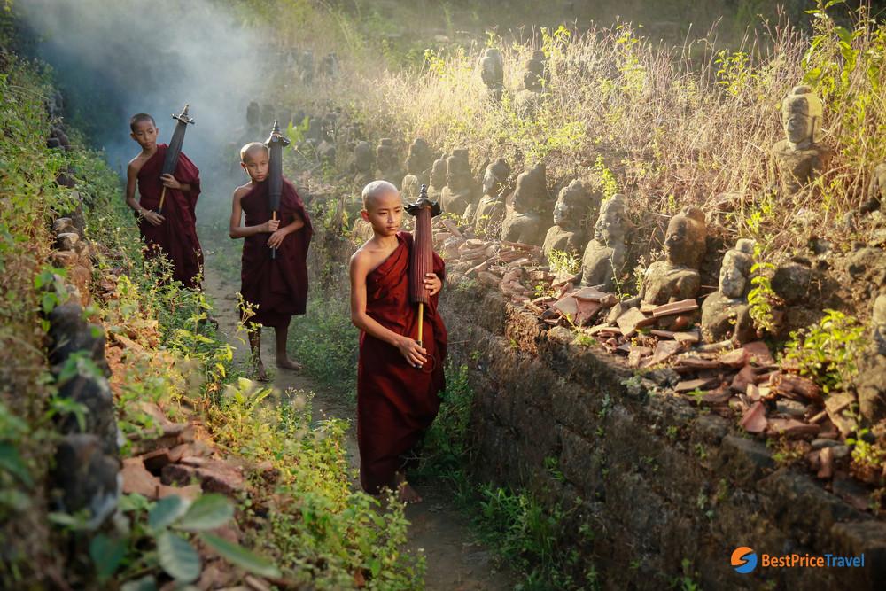 Buddhist Novice Monk Are Walking In Pagoda